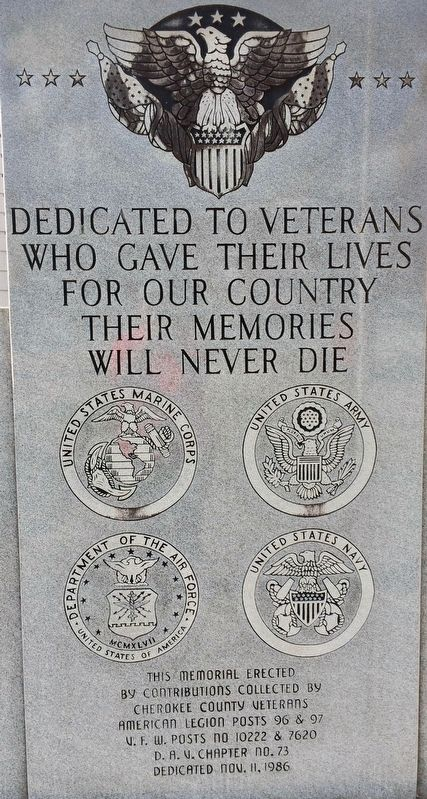 Cherokee County Veterans Memorial image. Click for full size.