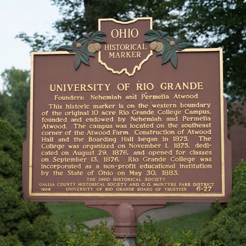 University of Rio Grande Marker image. Click for full size.