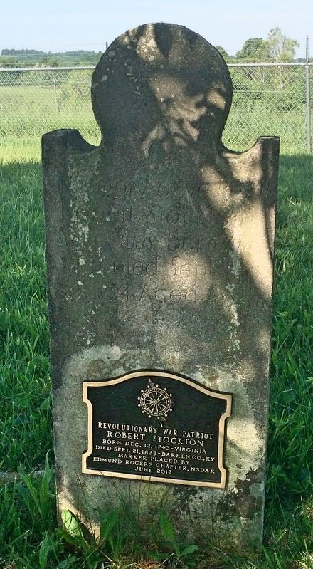 Revolutionary War Plaque mounted on grave marker. image. Click for full size.
