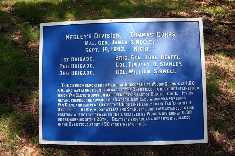 Negley's Division Marker image. Click for full size.