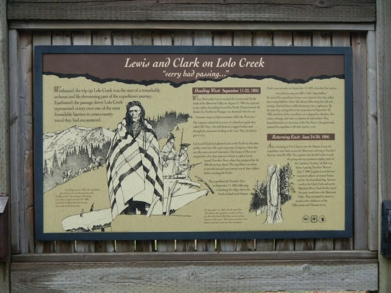 Lewis and Clark on Lolo Creek Marker image. Click for full size.