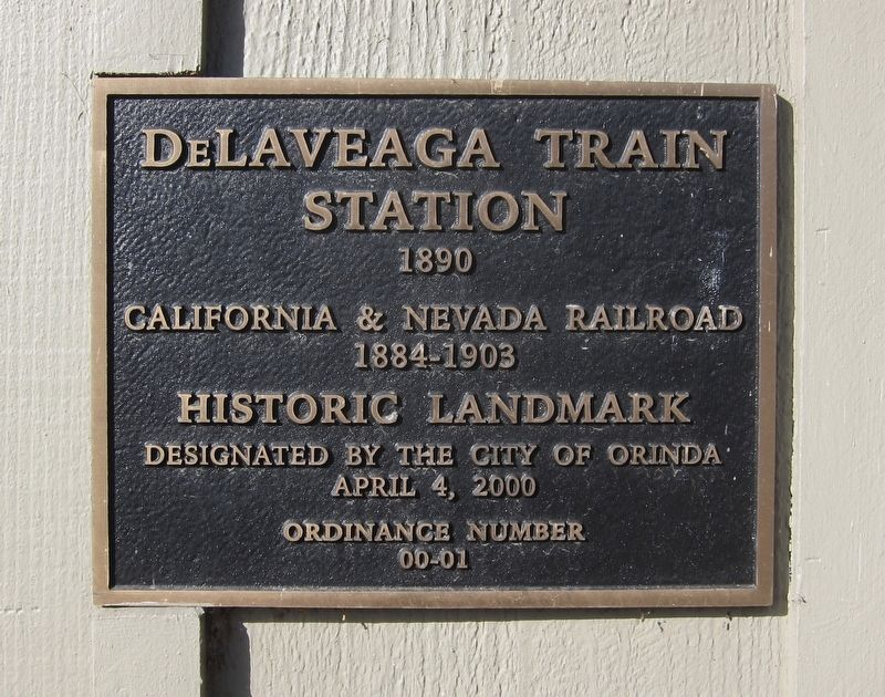The deLaveaga Station Historic Landmark Plaque image. Click for full size.