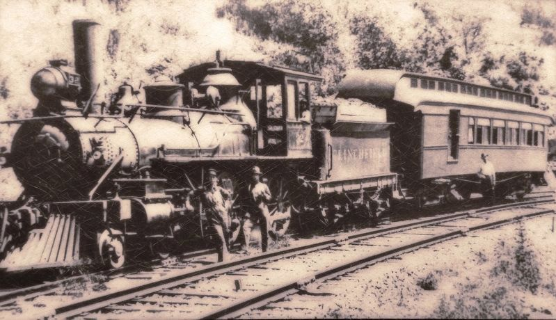 Marker detail: Clinchfield locomotive with one-car passenger/mail train, January 1909 image. Click for full size.
