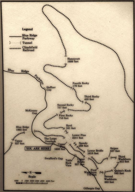 Marker detail: The Blue Ridge Loop: 18 Tunnels in 13 Miles image. Click for full size.
