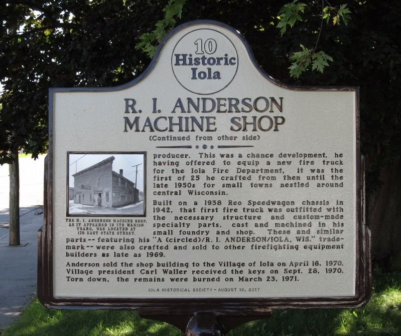 R. I. Anderson Machine Shop Marker image. Click for full size.