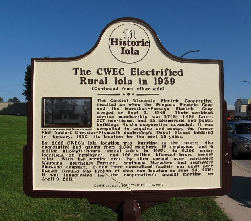 The CWEC Electrified Rural Iola in 1939 Marker image. Click for full size.