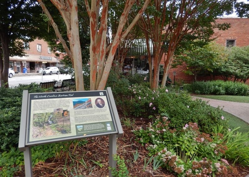The North Carolina Bartram Trail Marker (<i>wide view; Garden Club park in background</i>) image. Click for full size.