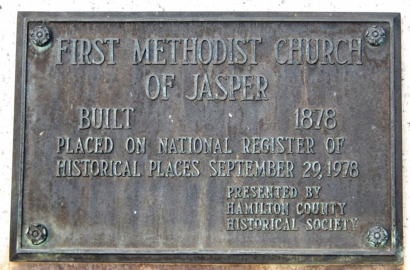 First Methodist Church of Jasper Marker image. Click for full size.