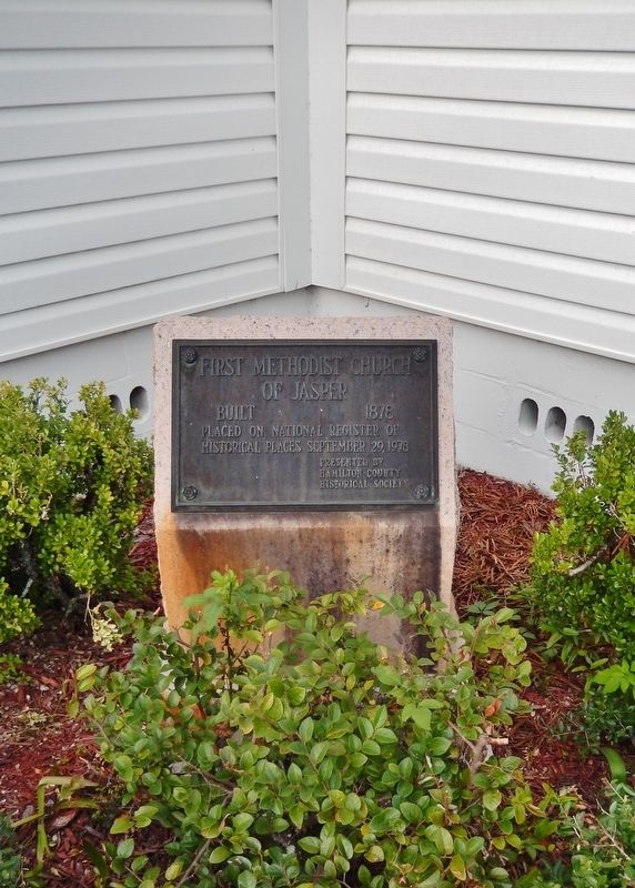 First Methodist Church of Jasper Marker (<i>tall view; showing supporting cement pedestal</i>) image, Touch for more information
