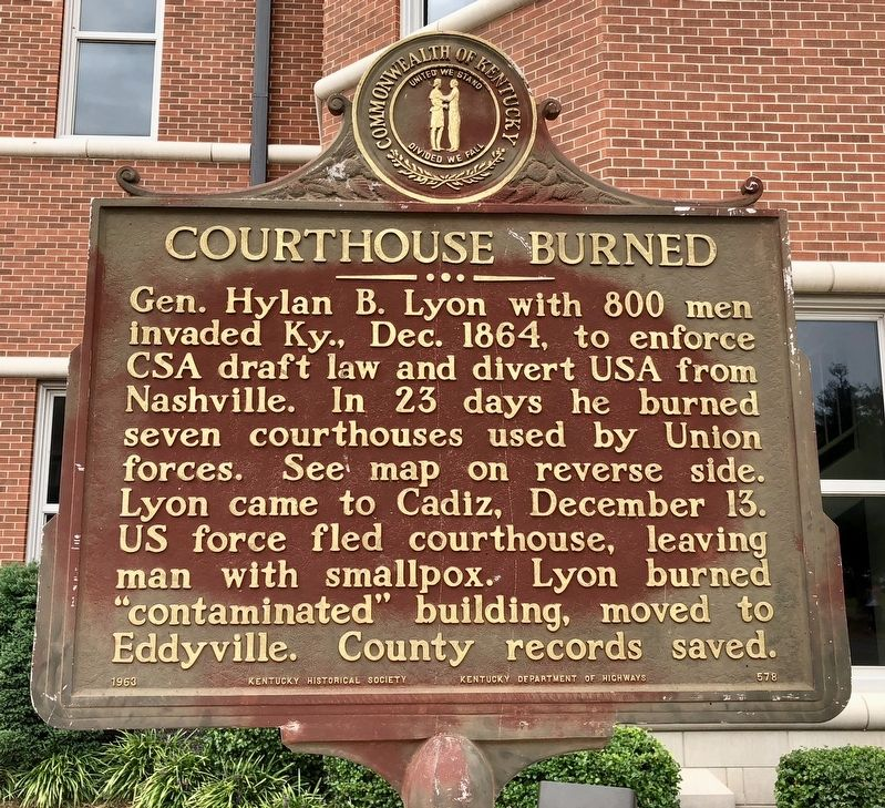 Courthouse Burned Marker (front) image. Click for full size.