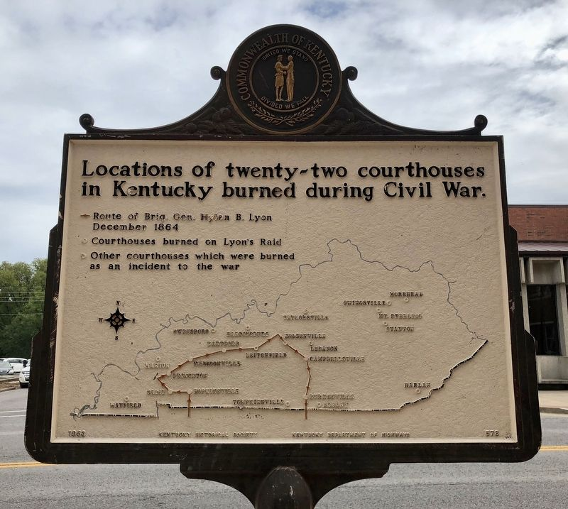 Marker (reverse) showing courthouse locations burned in Kentucky during Civil War. image. Click for full size.