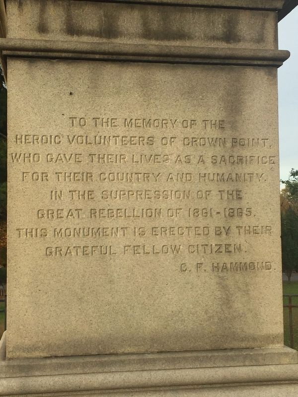 The Soldiers' Monument Inscription image. Click for full size.