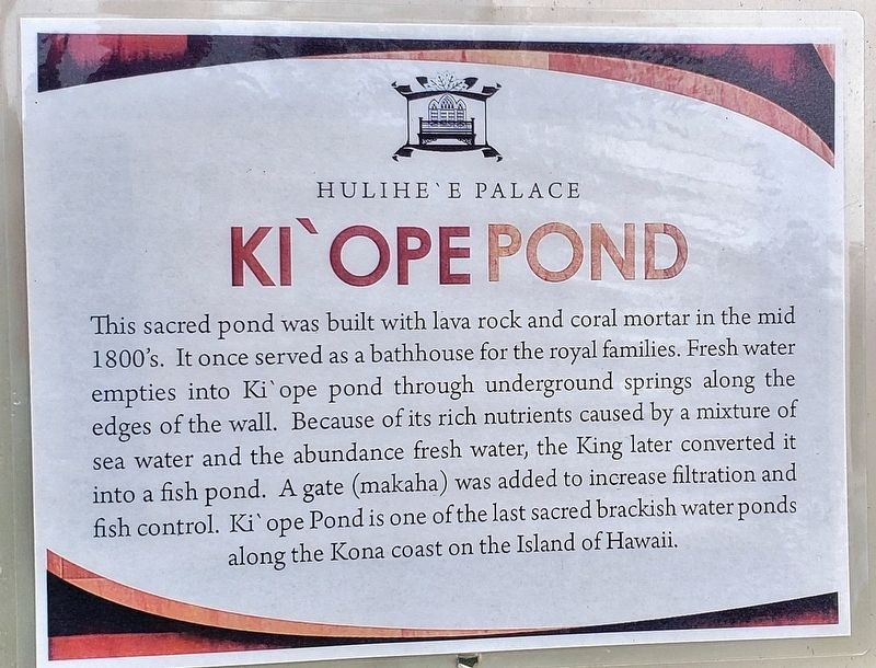 Ki'ope Pond Marker image. Click for full size.