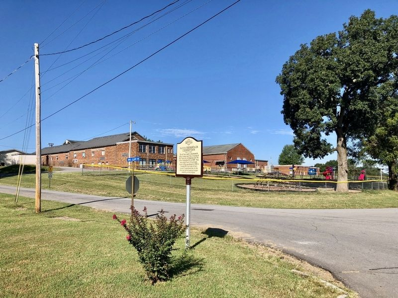 View of marker looking southwest towards the Coopertown Elementary School. image. Click for full size.