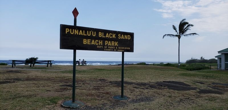 Punalu'u Black Sand Beach Park sign (<i>wide view from near marker</i>) image. Click for full size.