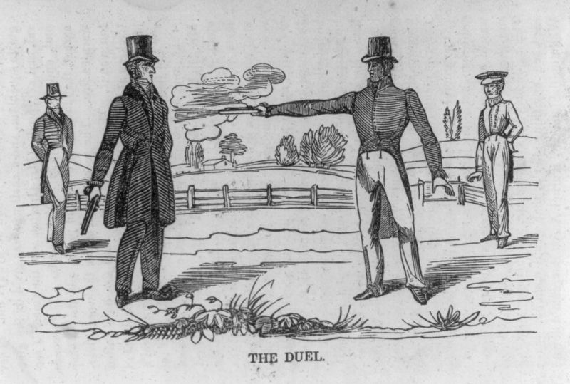 Jackson-Dickinson Duel print from woodcut. image. Click for full size.