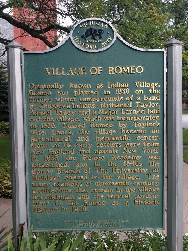 Village of Romeo Marker image. Click for full size.