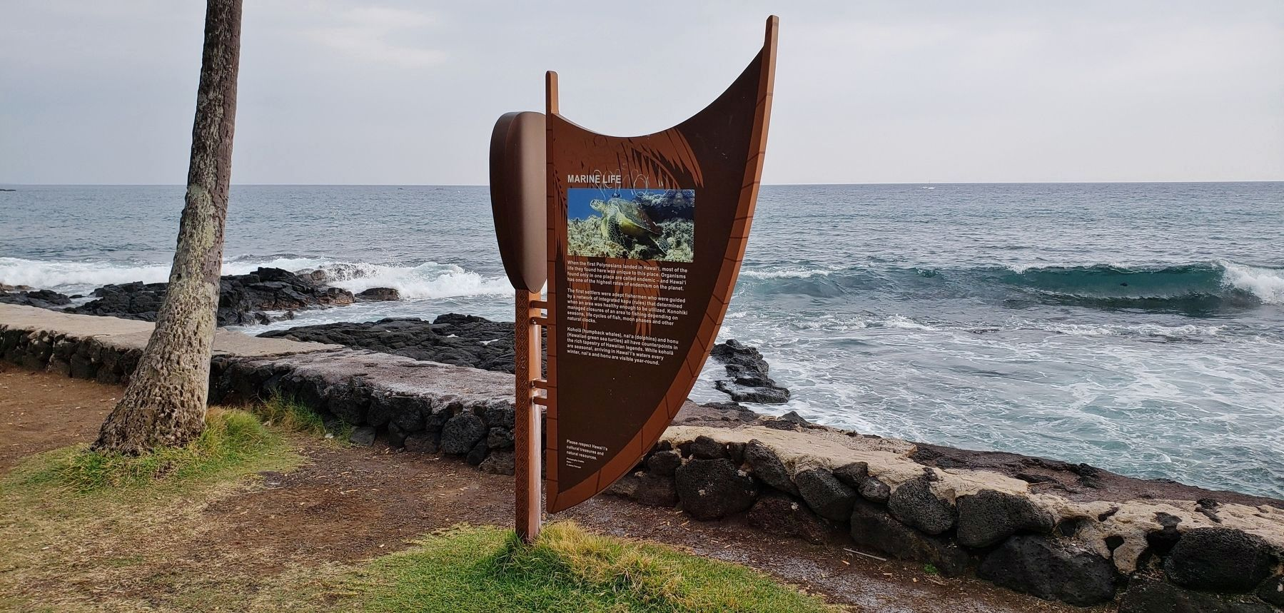 Marine Life Marker (<i>wide view; Oneo Bay in the background</i>) image. Click for full size.