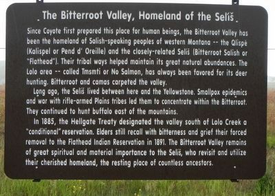 Bitterroot Valley, Homeland of the Selíš Marker image. Click for full size.
