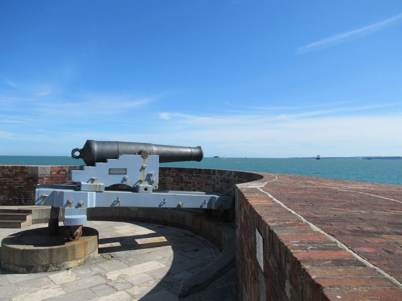 64 Pounder Gun Overlooking The Solent image. Click for full size.