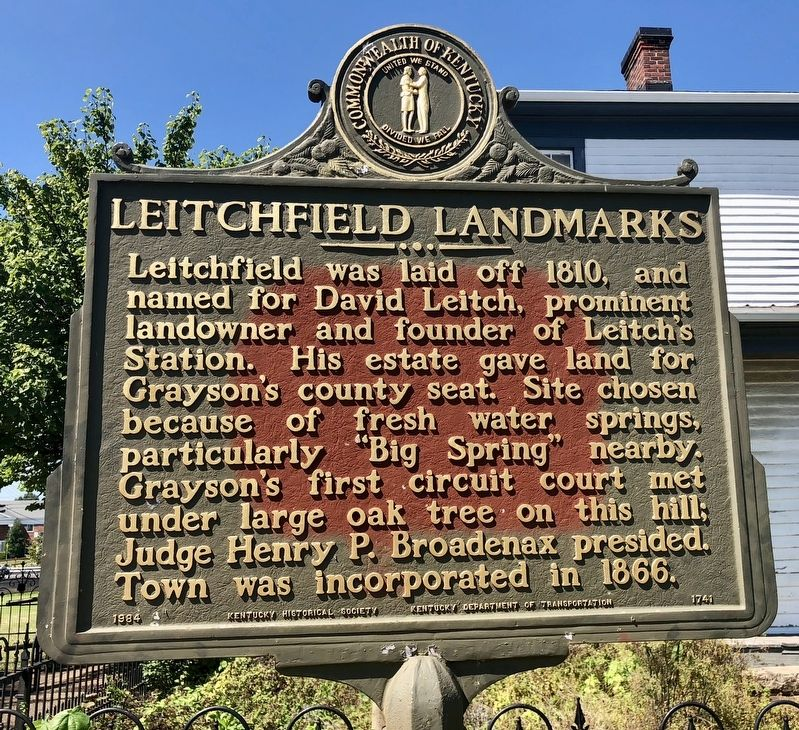 Leitchfield Landmarks Marker image. Click for full size.