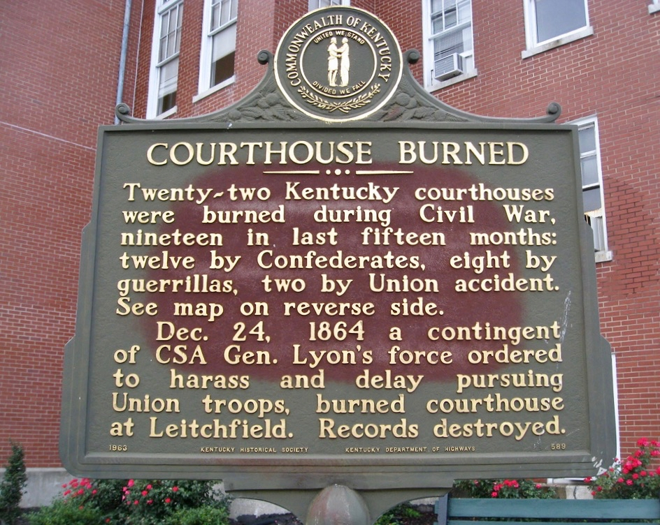 Courthouse Burned Marker is missing.