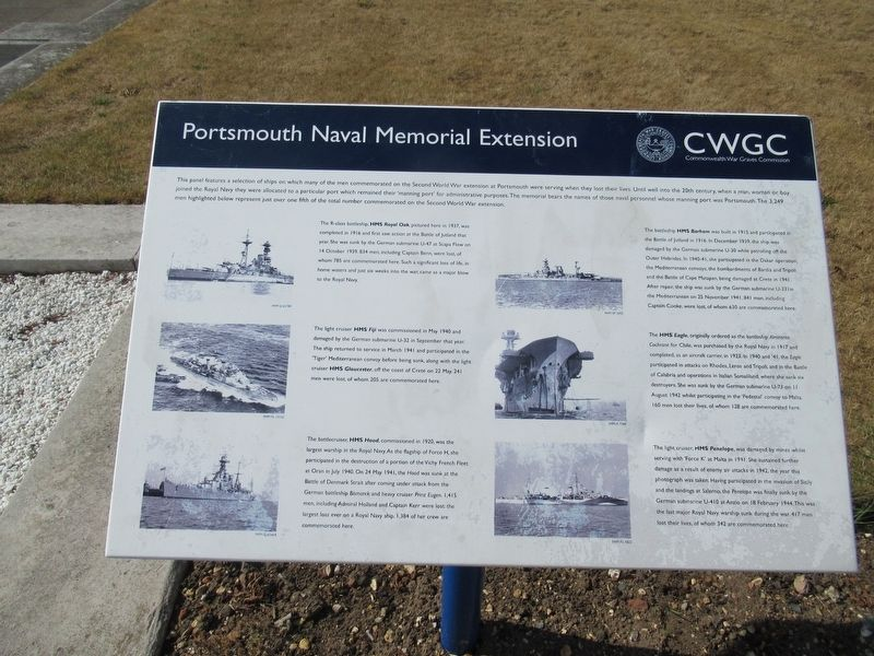 Portsmouth Naval Memorial Extension Marker image. Click for full size.