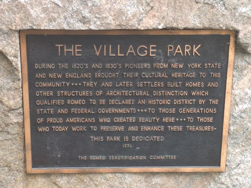 The Village Park Marker image. Click for full size.