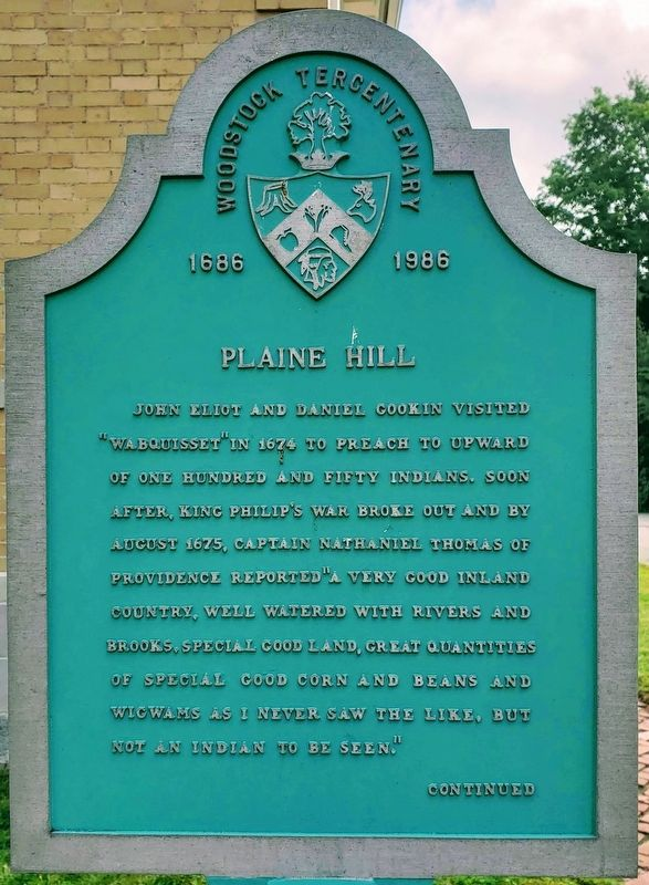 Plaine Hill Marker Front image. Click for full size.
