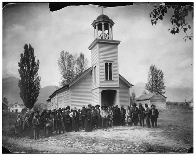 Saint Mary's Mission Church, circa late-1800s image. Click for full size.