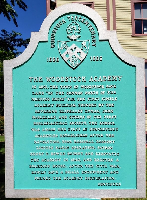 The Woodstock Academy Marker Front image. Click for full size.