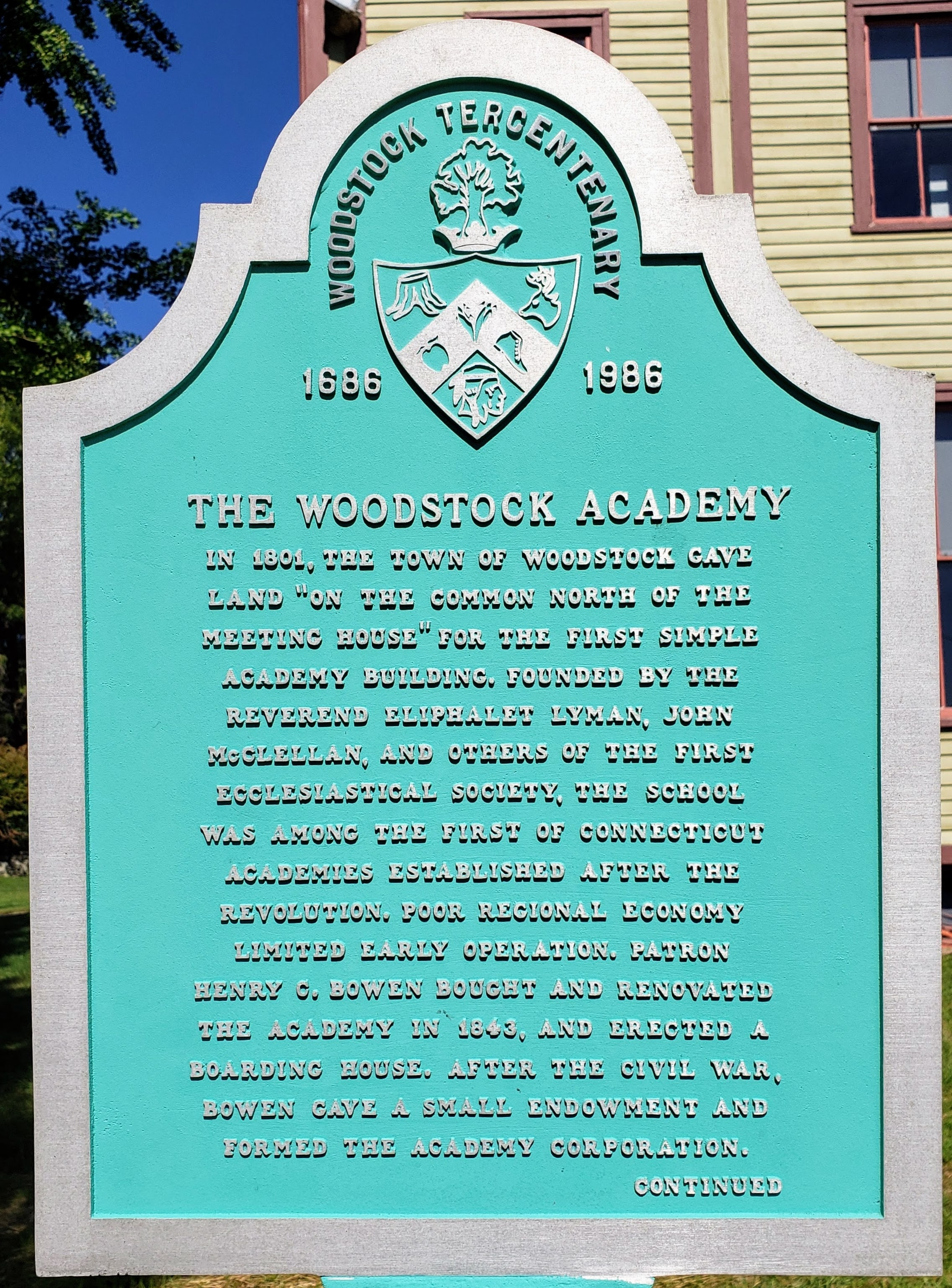 The Woodstock Academy Marker Front