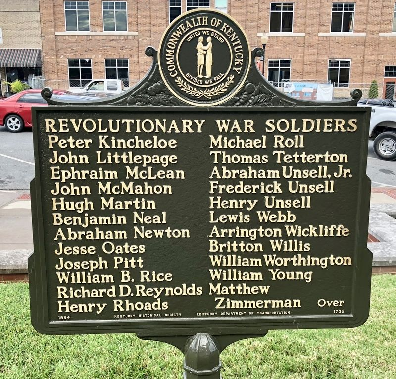Revolutionary War Soldiers Marker (reverse) image. Click for full size.