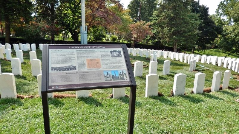 A National Cemetery System Marker (<i>wide view</i>) image. Click for full size.