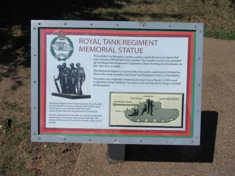 Royal Tank Regiment Memorial Statue Marker image. Click for full size.