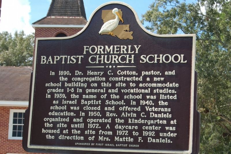 Israel Baptist School/Formerly Baptist Church School Marker image. Click for full size.