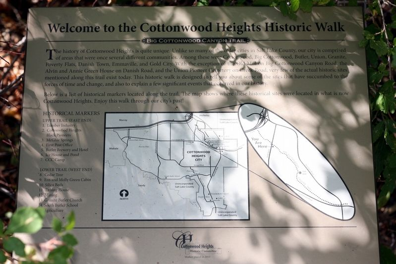 Welcome to the Cottonwood Heights Historic Walk Marker image. Click for full size.