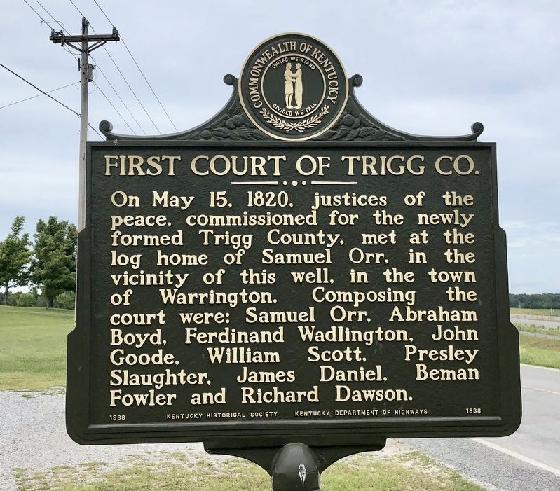 First Court of Trigg County Marker image. Click for full size.
