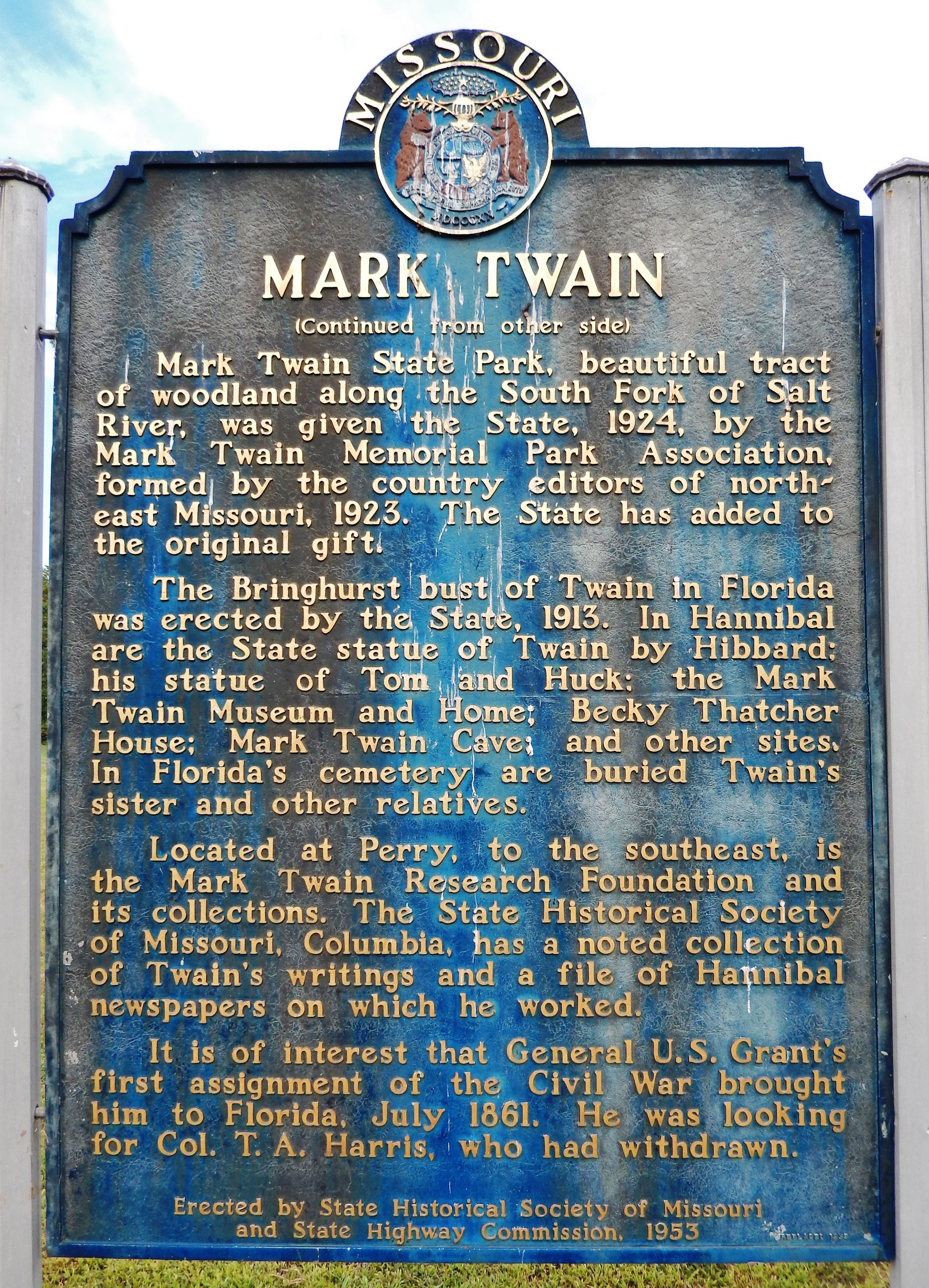 Mark Twain Marker (<i>side 2</i>)