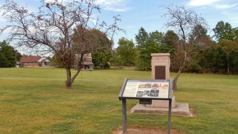 The Town of Florida Marker (<i>wide view; Mark Twain Birthplace Monument in background</i>) image. Click for full size.
