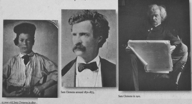 Marker detail: Mark Twain through the years image. Click for full size.