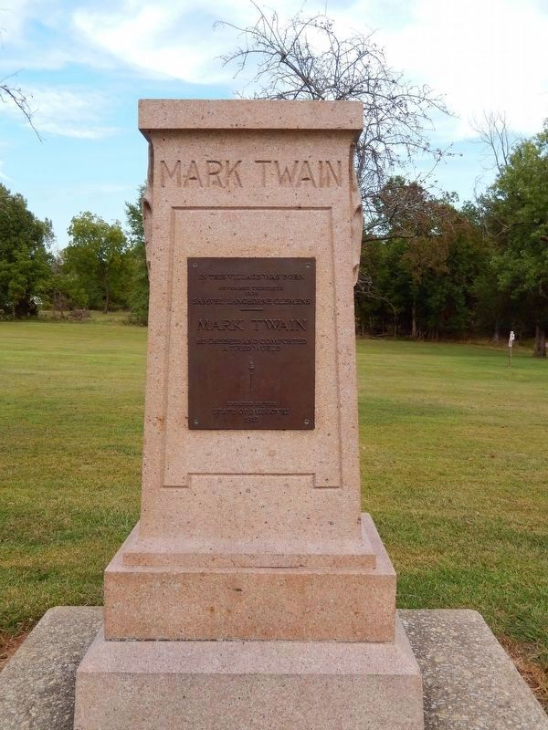 Mark Twain Birthplace Monument (<i>located behind marker</i>) image. Click for full size.