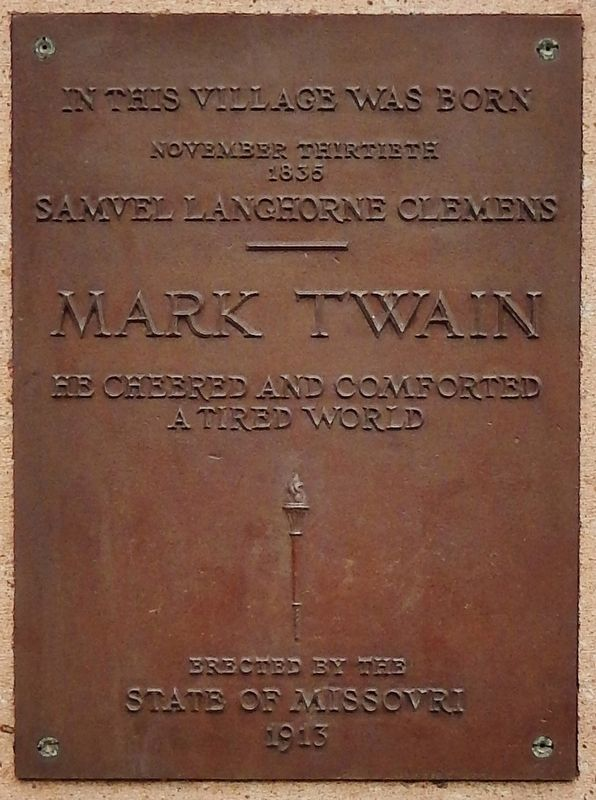 Mark Twain Birthplace Monument Plaque image. Click for full size.