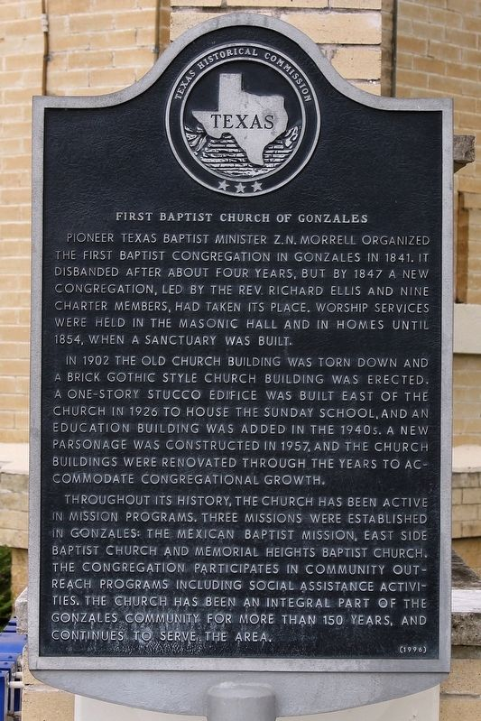 First Baptist Church of Gonzales Marker image. Click for full size.