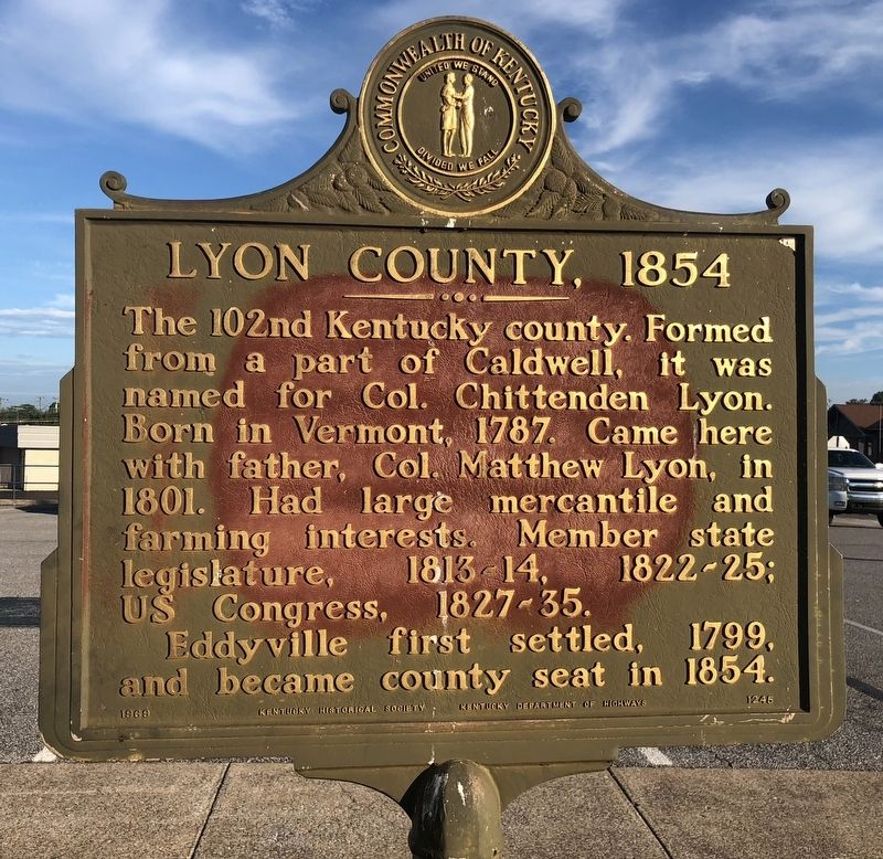 Lyon County, 1854 Marker image. Click for full size.