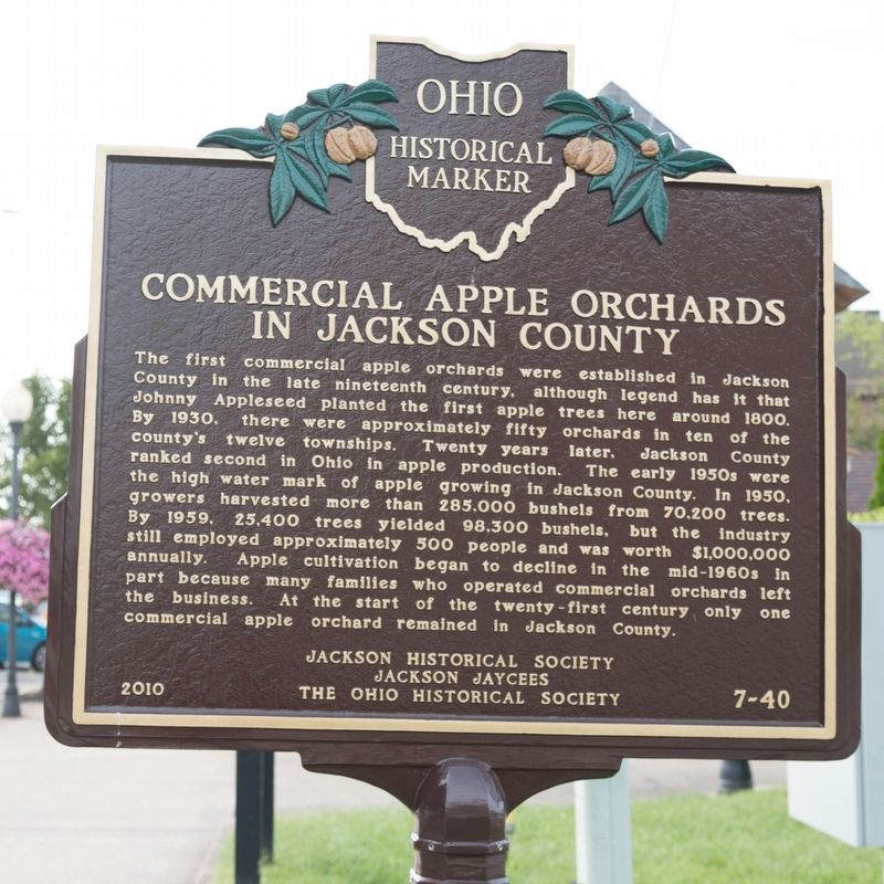 Commercial Apple Orchards in Jackson County face of marker image. Click for full size.