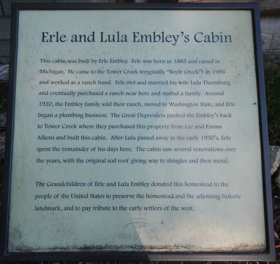 Erle and Lula Embley's Cabin Marker image. Click for full size.