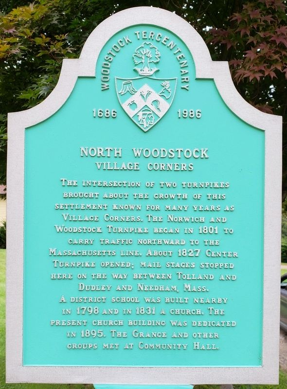 North Woodstock Village Corners Marker Front image. Click for full size.