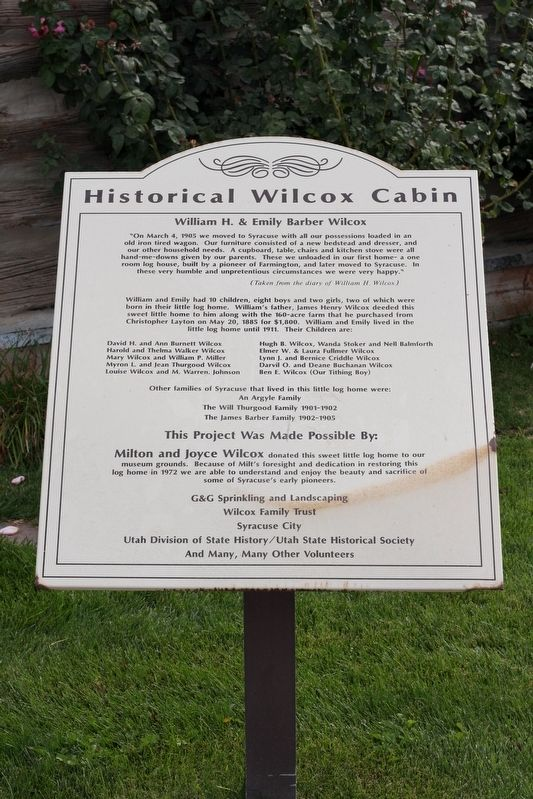 Historical Wilcox Cabin Marker image. Click for full size.