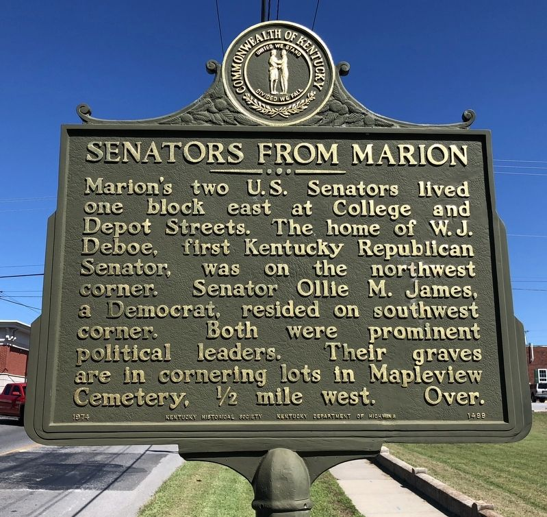Senators from Marion Marker image. Click for full size.